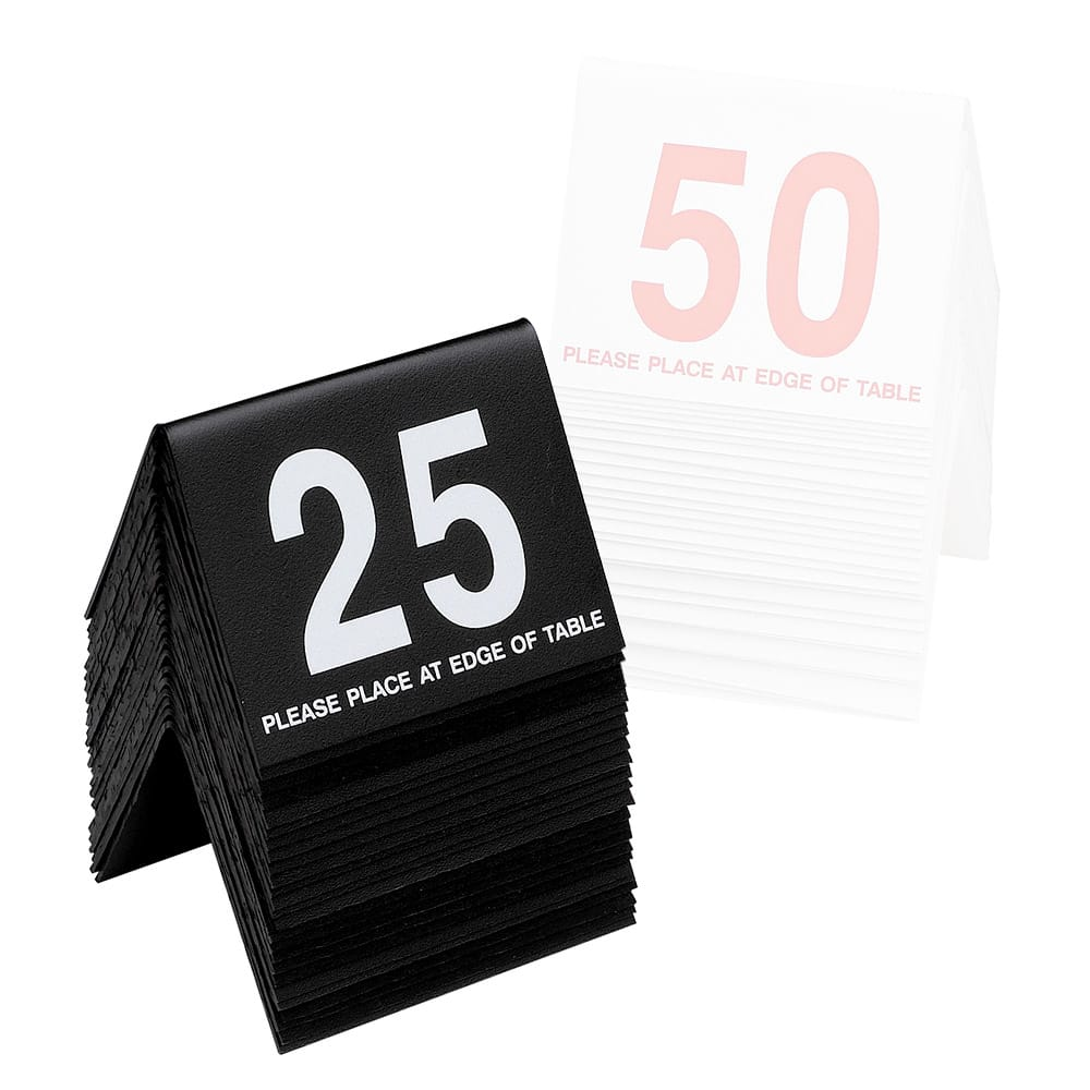 """Cal-Mil 234-1-13 Tabletop Number Tents - #26-50, 3"""" x 3.5"""", Black/White"""