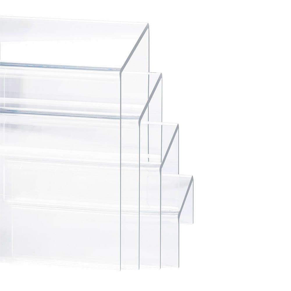 """Cal-Mil 238 4 Display Risers w/ (1)-Each 8"""" H, 6"""" H, 4"""" H & 2"""" H, Clear"""