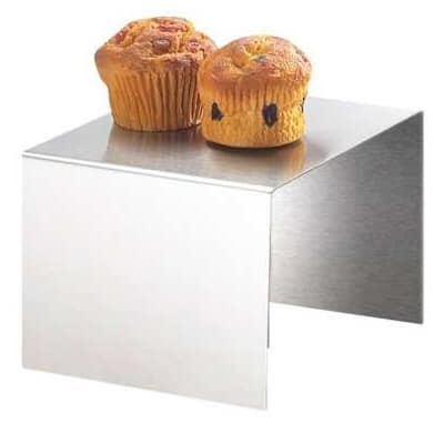 """Cal-Mil 239-4 6"""" Square Buffet Riser - 4""""H, Stainless"""