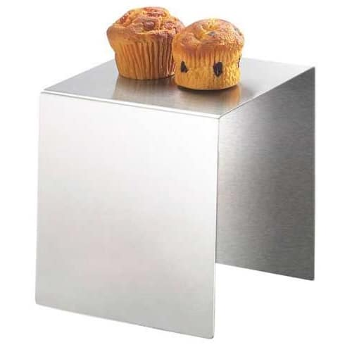 """Cal-Mil 239-8 8"""" Square Buffet Riser - 8""""H, Stainless"""