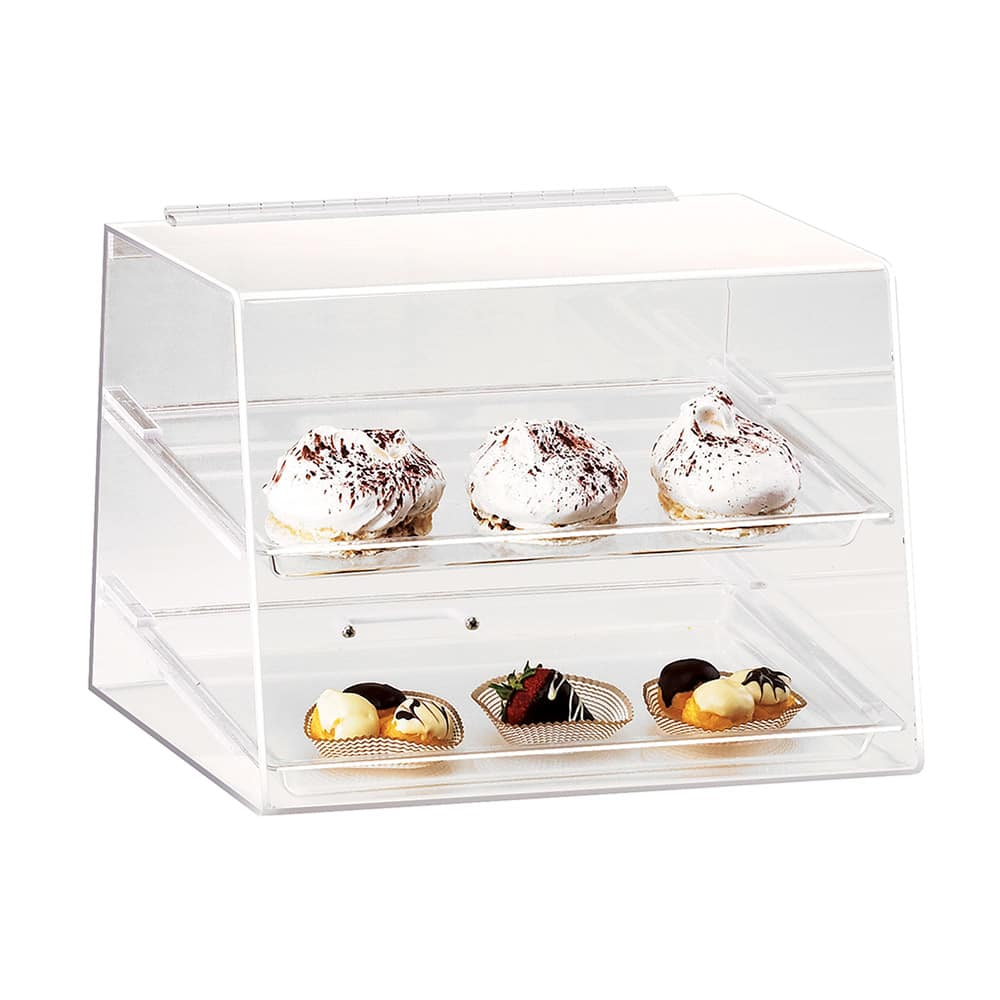 """Cal-Mil 254 Countertop Display Case w/ Rear Door & (2) 10 x 14"""" Trays, Clear"""
