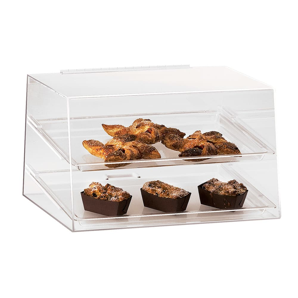 """Cal-Mil 255 Countertop Display Case w/ Rear Door & (2) 13 x 18"""" Trays, Clear"""