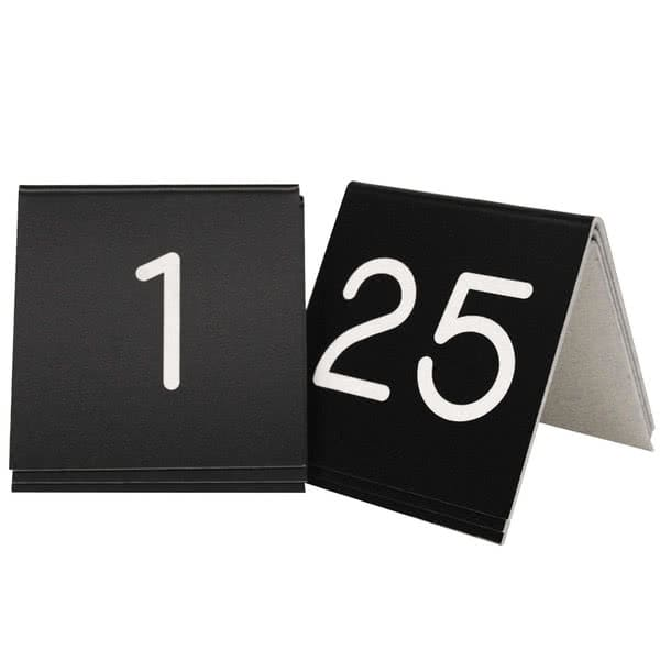 "Cal-Mil 269A-5 3"" Square Tabletop Number Tents - #1 25, Plastic, White/Black"
