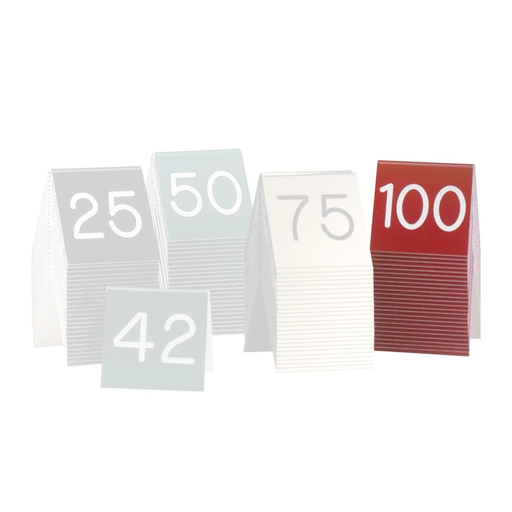"Cal-Mil 269D-1 Tabletop Number Tents - #76-100, 3"" x 3"", Red/White"