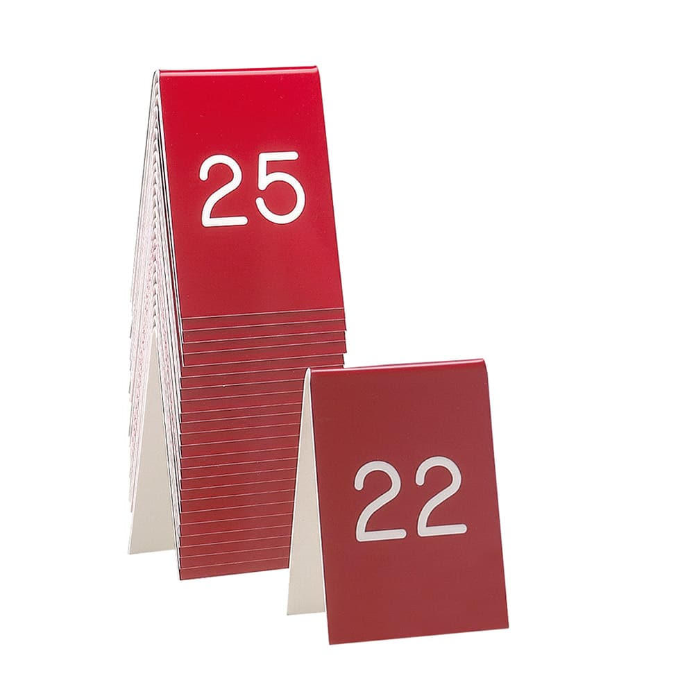 "Cal-Mil 271B-1 Tabletop Number Tents - #26 50, 3.5"" x 5"", Red/White"