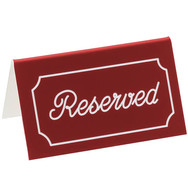 """Cal-Mil 273-1 """"Reserved"""" Table Tent Sign - 5"""" x 3"""", Plastic, Red/White"""