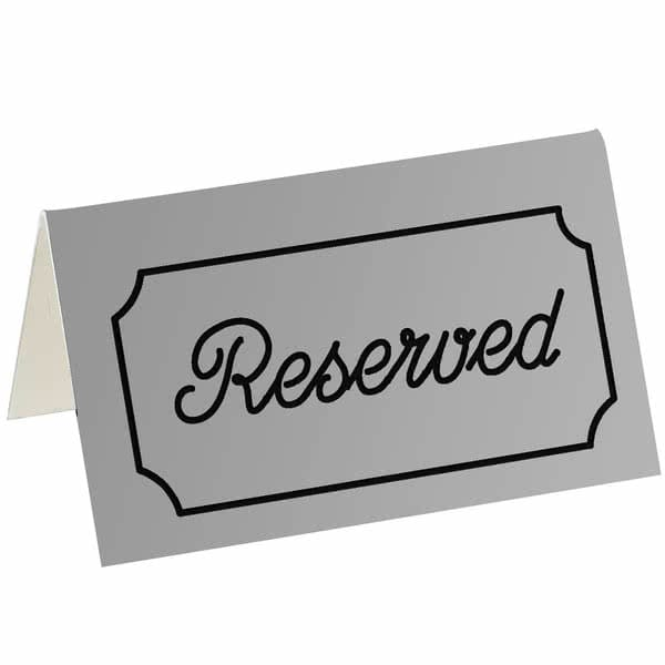 "Cal-Mil 273-10 ""Reserved"" Table Tent Sign - 5"" x 3"", Plastic, Silver/Black"