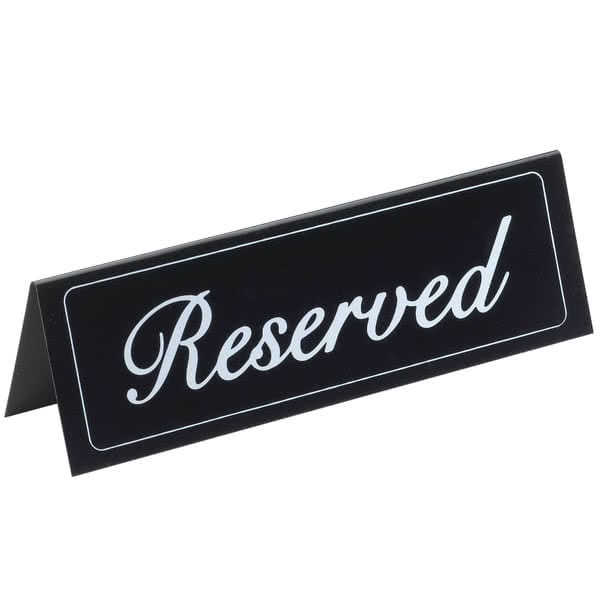 cal mil 283 reserved table tent sign 9 25 x 3 vinyl black