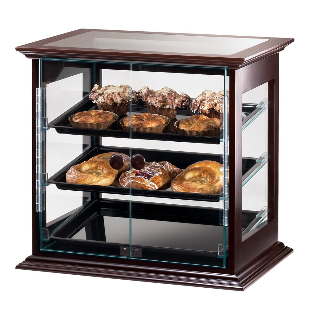 "Cal-Mil 284-S-52 Self-Serve Frame Display Case w/ (3) 13 x 18"" Black Trays, Wood"