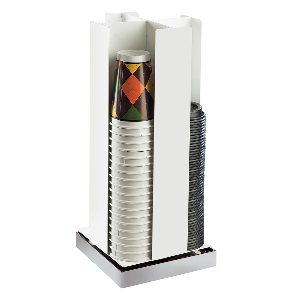 Cal-Mil 3001-55 Luxe Cup Lid Organizer - White, Stainless Steel