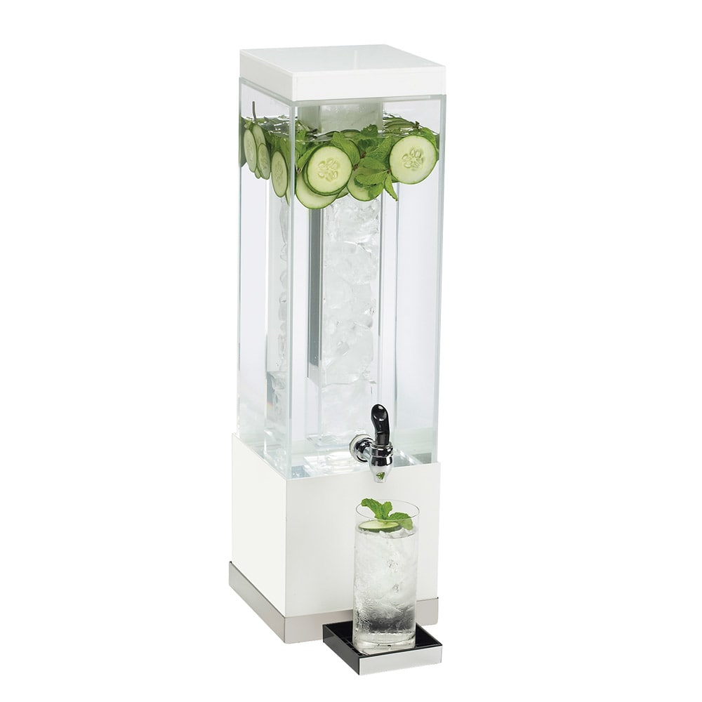 Cal-Mil 3002-3-55 3 gal Square Luxe Beverage Dispenser - Lid, Spigot, Acrylic, White