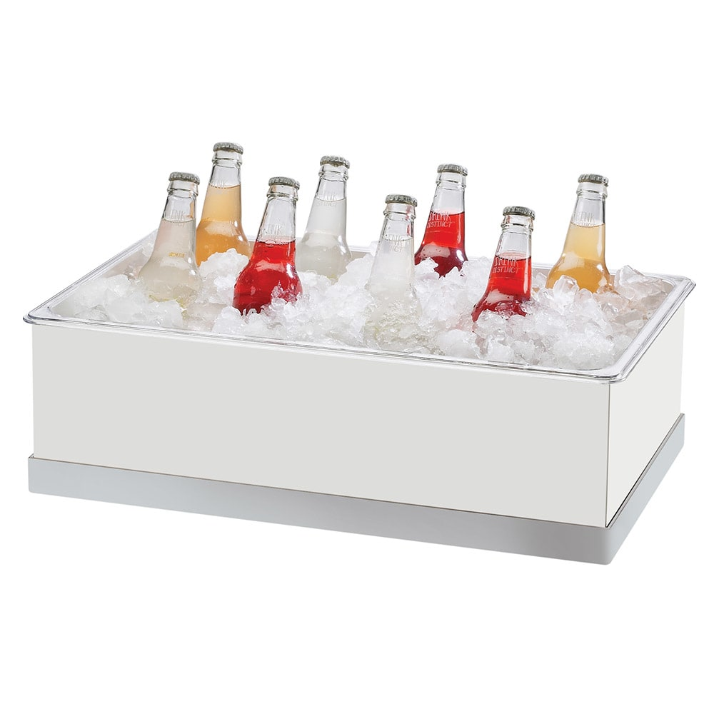 "Cal-Mil 3005-12-55 Luxe Ice Housing - 12 1/4x20 1/4x6 1/4"", White, Stainless Steel"