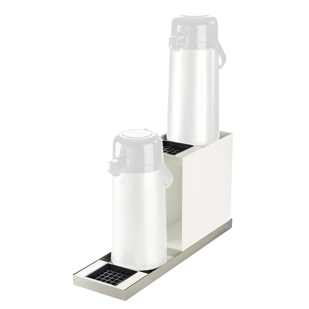 "Cal-Mil 3008-55 2 Tier In-Line Airpot Stand - 2 Drip Trays, 6 7/8x22 1/2x12 1/2"", Stainless"