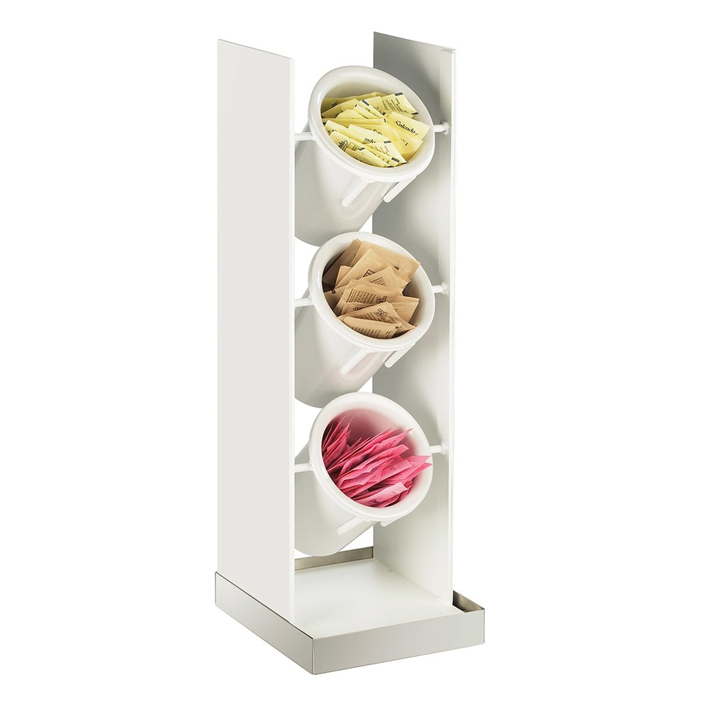Cal-Mil 3010-55 3-Tier Luxe Vertical Cylinder Holder Only - White, Stainless Steel