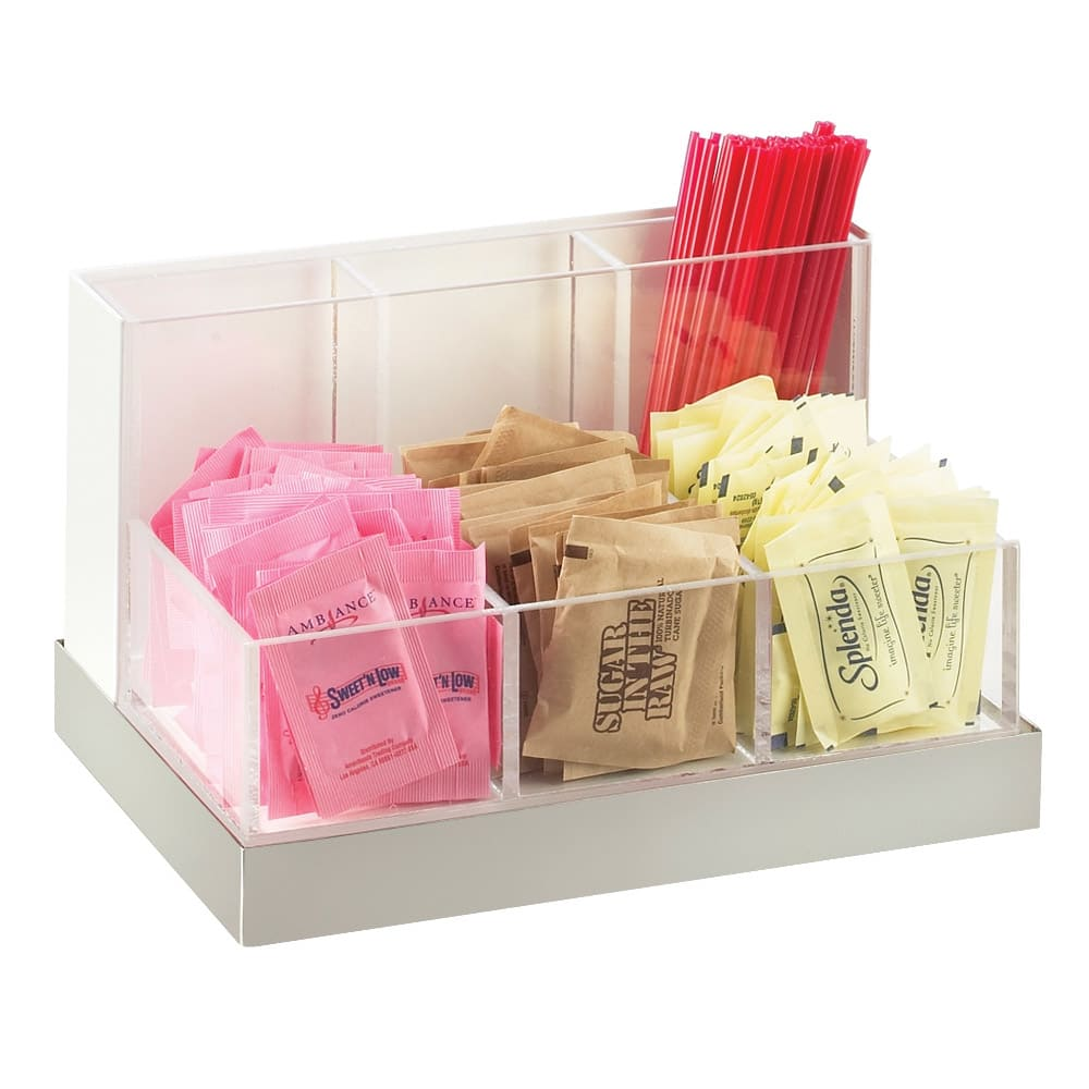 Cal-Mil 3013-55 Luxe Condiment Stir-Stick Organizer - Clear, Stainless Steel