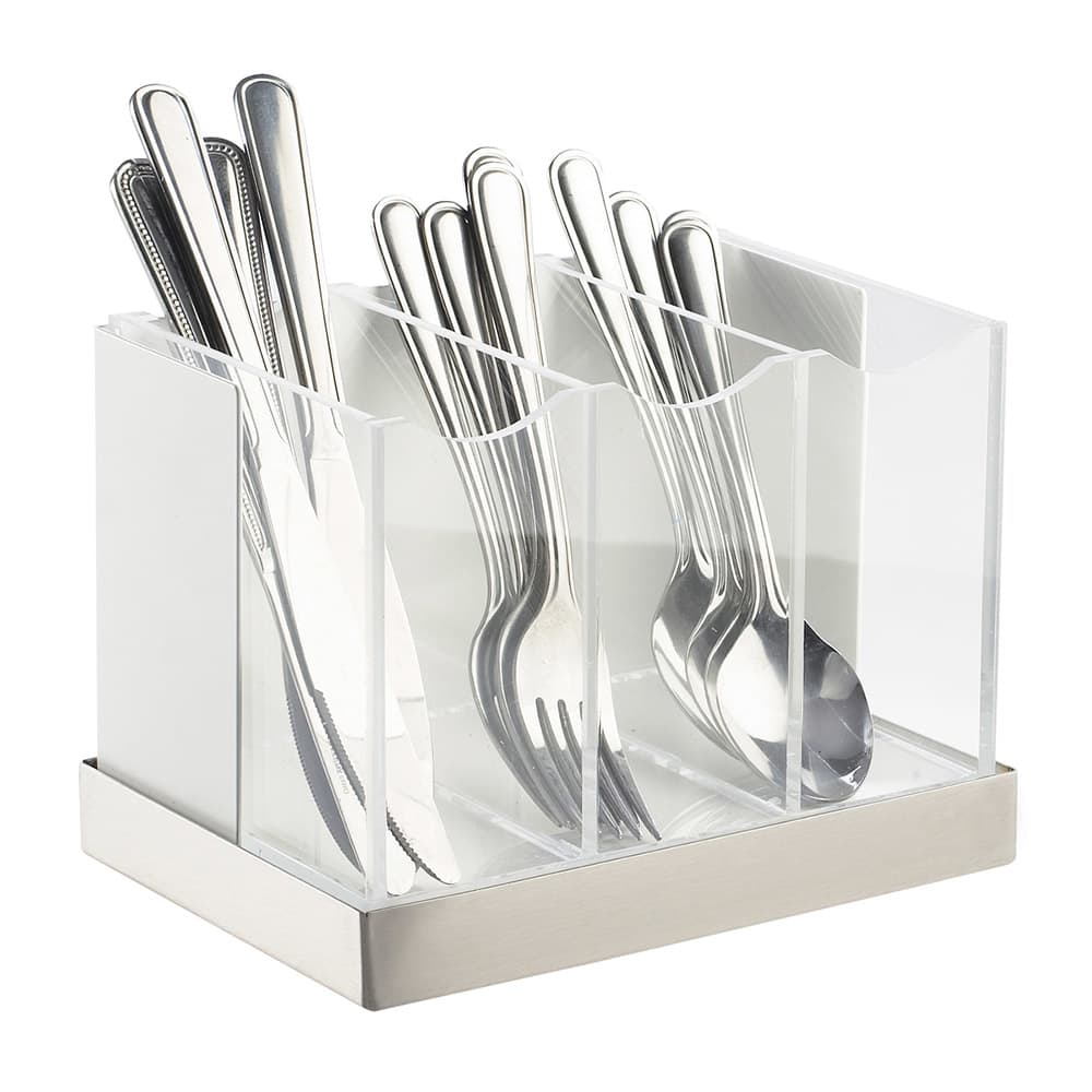 Cal-Mil 3015-55 3 Bin Luxe Flatware Holder - White, Stainless Steel