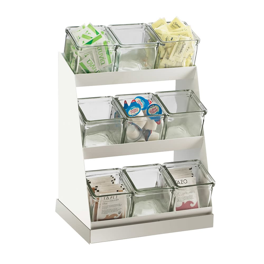 Cal-Mil 3018-55-12 3-Tier Luxe Condiment Display - Glass, Stainless Steel