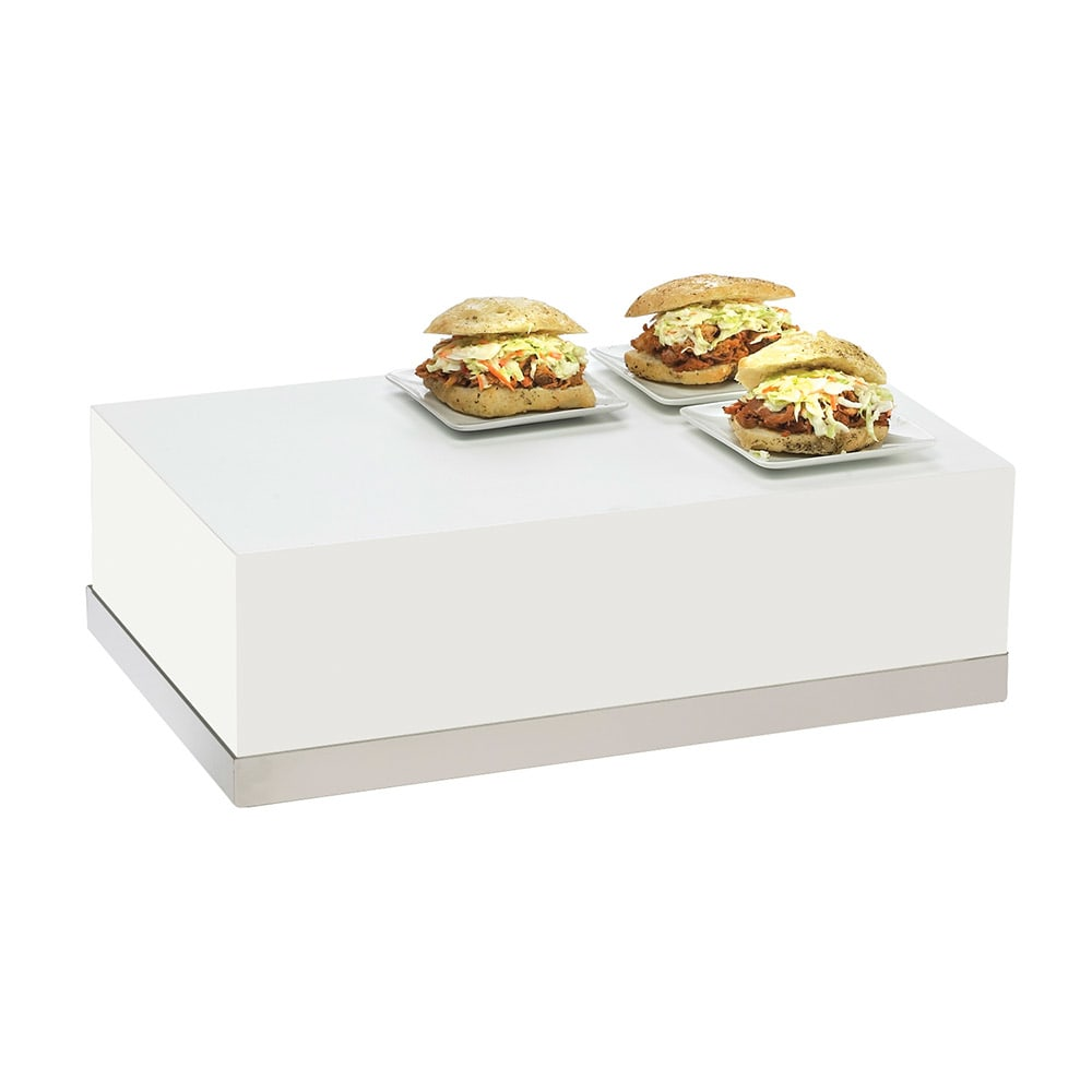 "Cal-Mil 3025-55 Rectangular Luxe Display Riser - 12x20x6-1/2"", White"