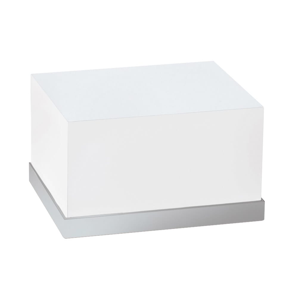 "Cal-Mil 3026-55 Rectangular Luxe Display Riser - 12x10x6 1/2"", White, Stainless Steel"