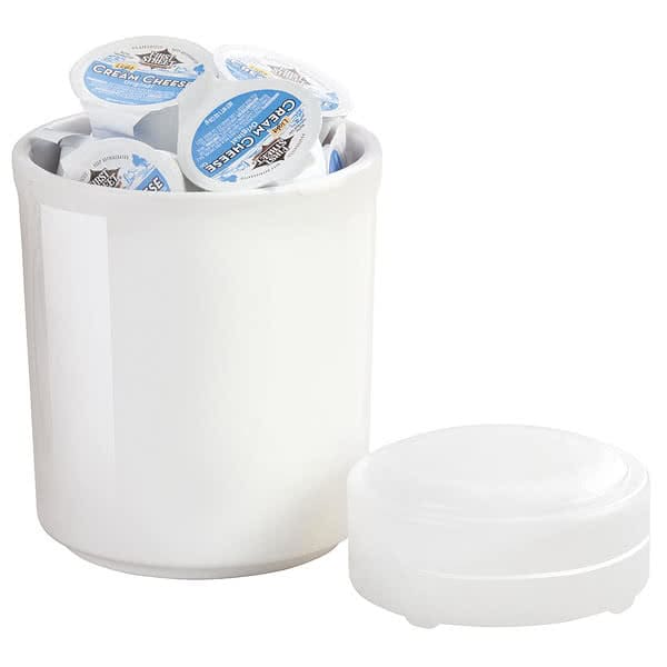 "Cal-Mil 3050-32 32 oz Cold Condiment Jar w/ Cold Puck - 5"" Round, Melamine, White"