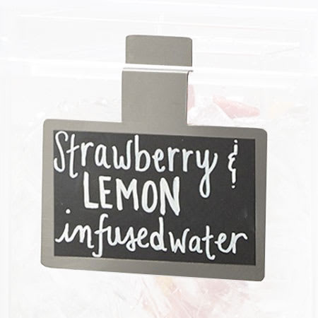 "Cal-Mil 3059 Write-On Beverage Sign - 3"" x 5"", Steel, Black"