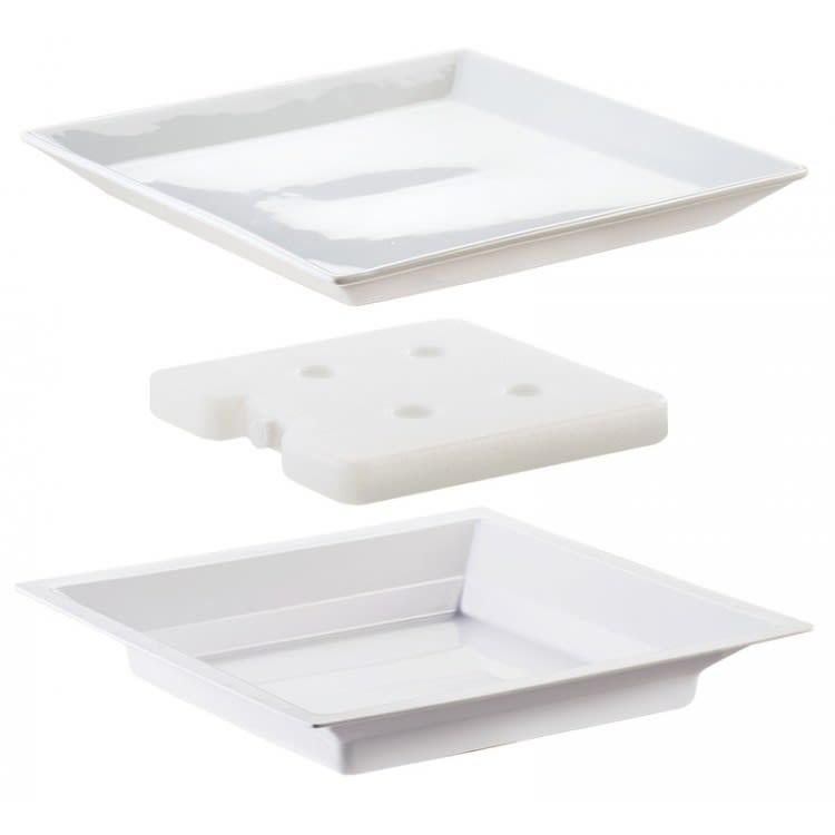"Cal-Mil 3063 11"" Square Cold Plate Set - Porcelain, White"