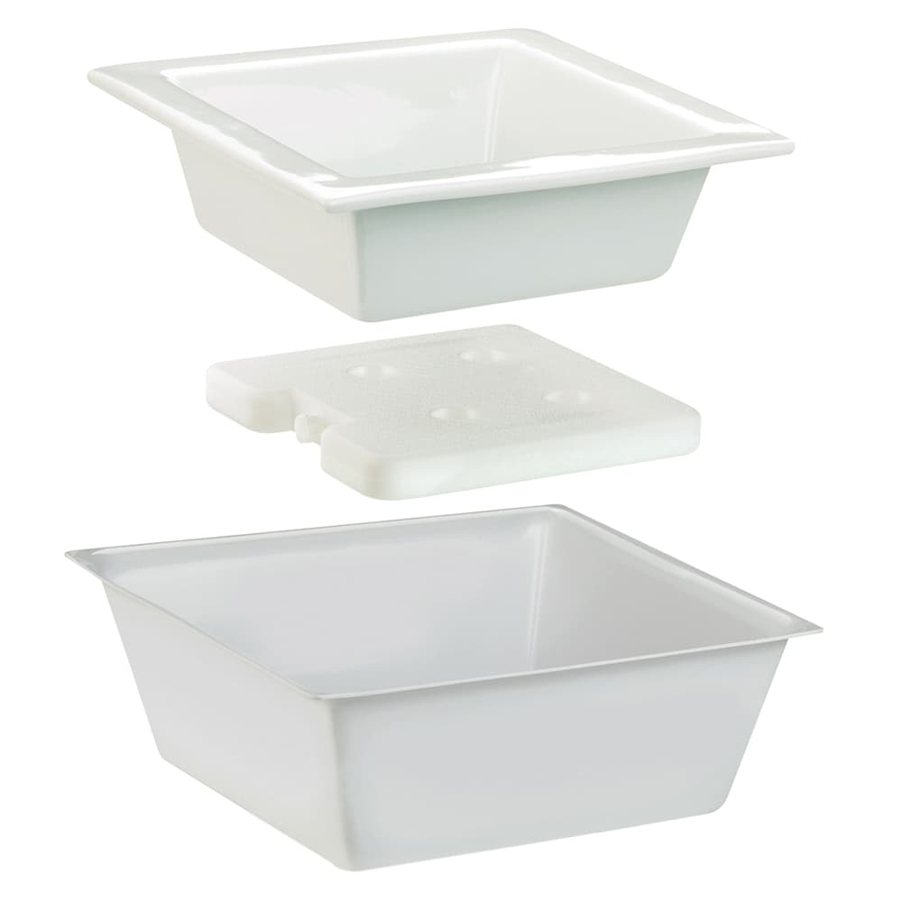 "Cal-Mil 3064 10"" Square Cold Bowl Set w/ Cold Pack - Porcelain, White"