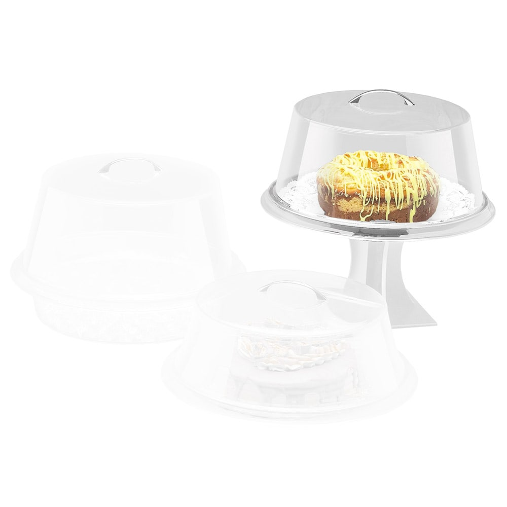"""Cal-Mil 312-15 15"""" Round Colonial Cover w/ Flat Top, Clear Acrylic"""