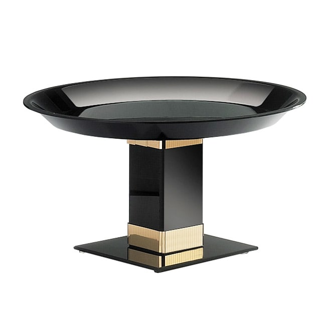 "Cal-Mil 319-12B7 Tall Pedestal, 12"" Diameter x 7"" High, Black w/ Gold Trim"