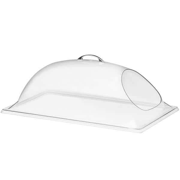 "Cal-Mil 322-18 Dome Cover w/ Cut-Out for Display Trays - 26""W x 18""D x 8""H, Plastic, Clear"