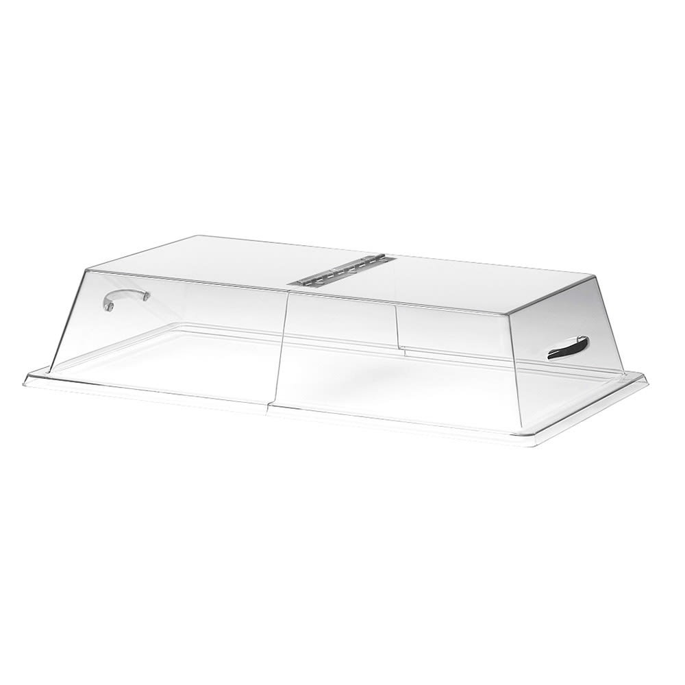 "Cal-Mil 328-13 Display Cover w/ Center Hinge & Flat Top, 13 x 18 x 4"" High"