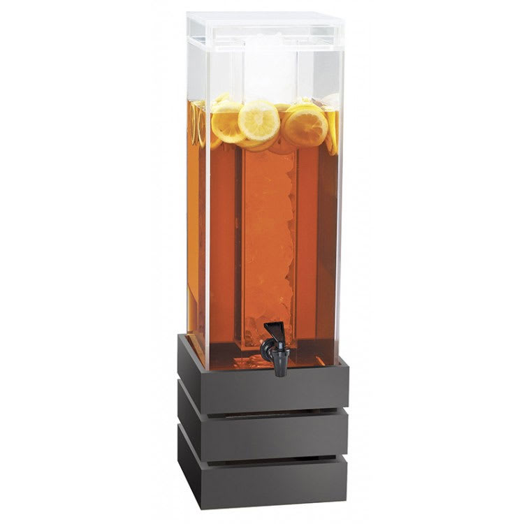 Cal-Mil 3301-3INF-96 3 gal Square Beverage Dispenser - Lid, Spigot, Acrylic, Midnight Bamboo