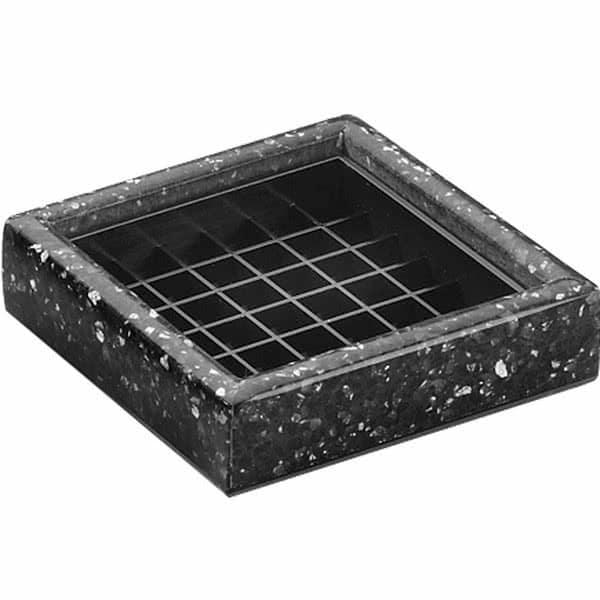 "Cal-Mil 330-4-31 4"" Square Stone Drip Tray - Plastic, Black Ice"