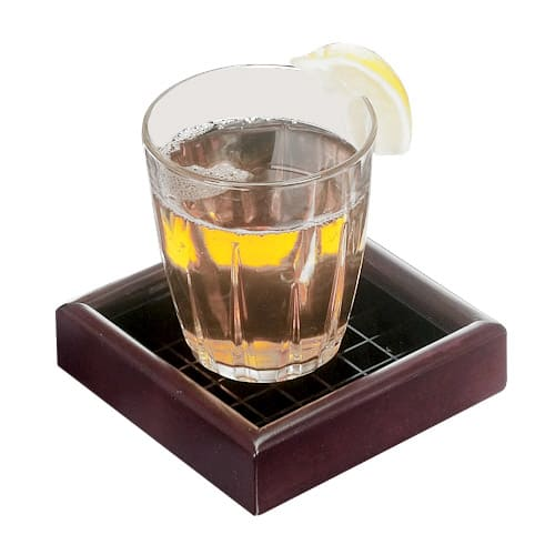 """Cal-Mil 330-4-52 4"""" Square Woodland Drip Tray w/ Removable Inner Tray, Dark Wood"""