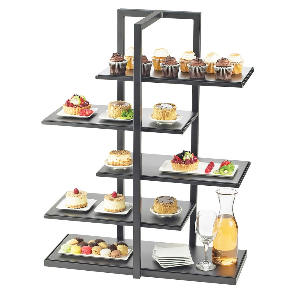 Cal-Mil 3304-96 5-Tier Rectangular One by One Display Server Shelf - Midnight Bamboo, Silver