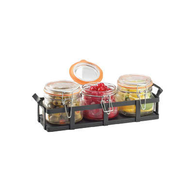 Cal-Mil 3335-13 Rustic Jar Condiment Display - 17 oz Glass Jars, Black