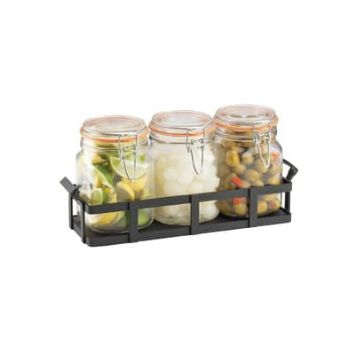 Cal-Mil 3336-13 Rustic Jar Condiment Display - 34 oz Glass Jars, Black