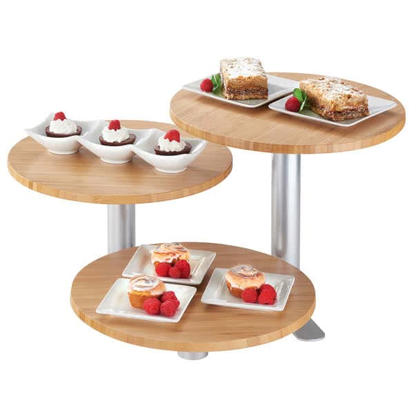 """Cal-Mil 3347-3-60 3 Tier Swivel Display Stand w/ 12"""" Round Bamboo Shelves - 11""""H, Metal, Silver"""