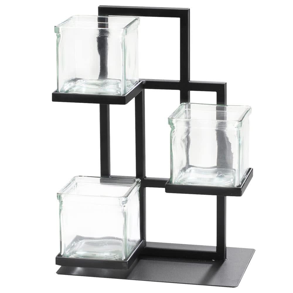 """Cal-Mil 3350-13 3-Tier Condiment Jar Riser Set w/ (3) 4"""" x 4"""" Jars - Metal, Black"""