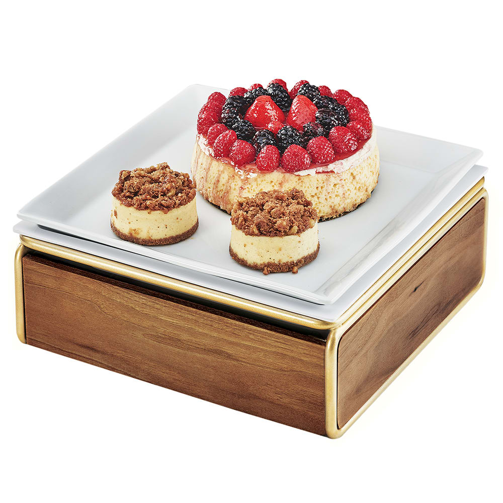 "Cal-Mil 3367-46 Cold Concept Cooling Base - 12""W x 12""D x 4.5""H, Wood/Brass"
