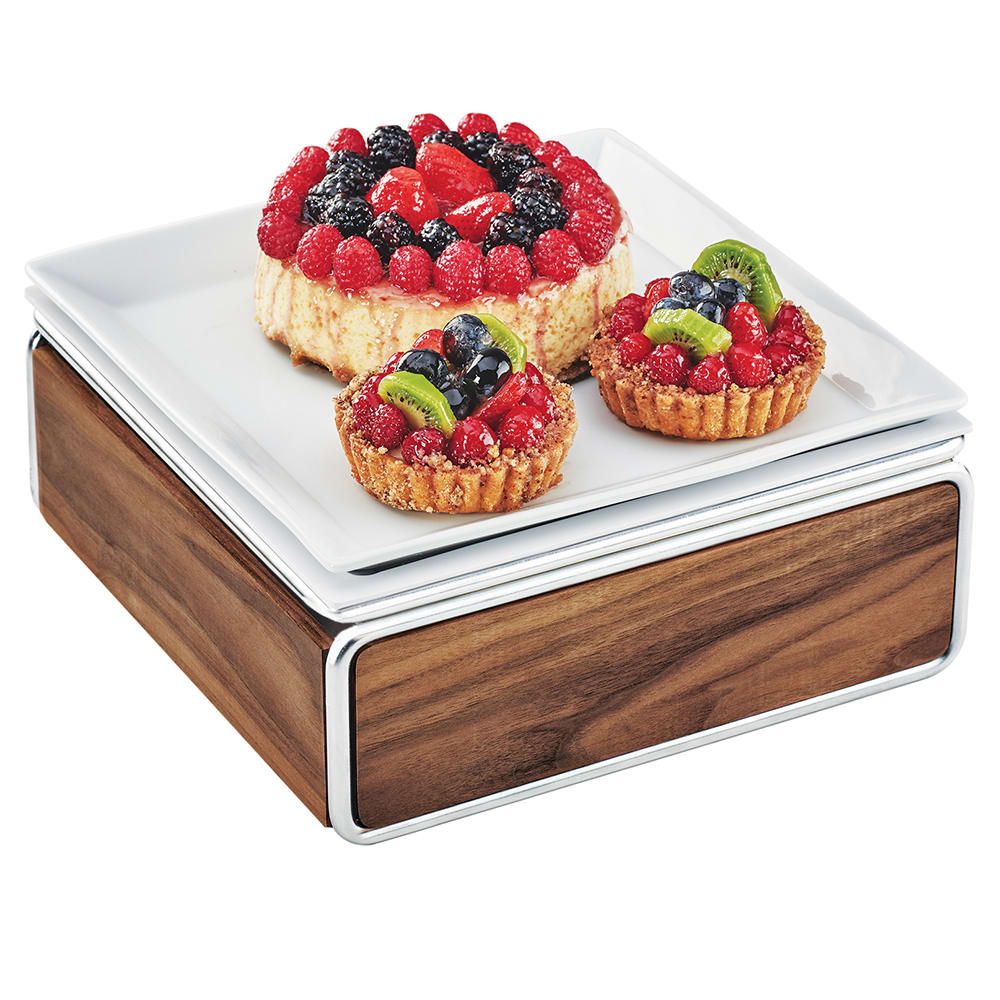 """Cal-Mil 3367-49 Cold Concept Cooling Base - 12""""W x 12""""D x 4.5""""H, Wood/Chrome"""