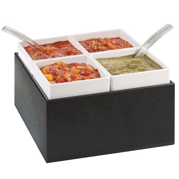 """Cal-Mil 3369-13 10.5"""" Square Chilled Salsa/Dressing Dispenser w/ (4) Containers - 7""""H, Black"""