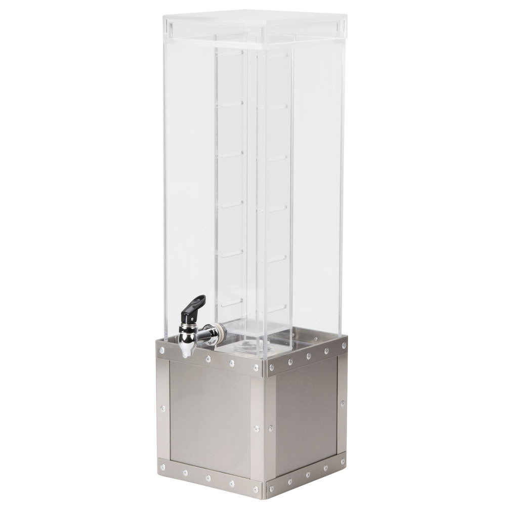 Cal-Mil 3394-3INF-55 3 gal Square Beverage Dispenser w/ Infusion Chamber - Acrylic/Stainless