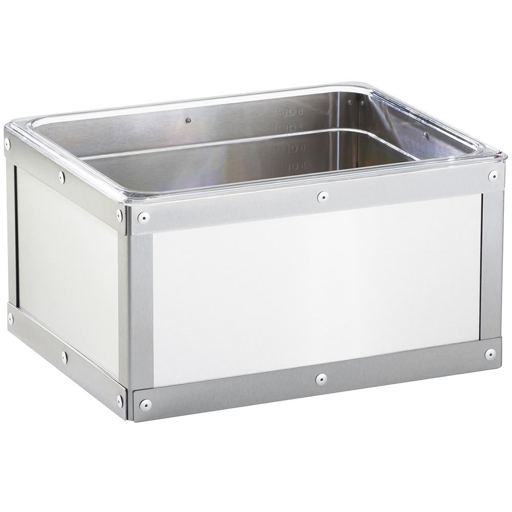 "Cal-Mil 3395-10-55 Urban Stainless Steel Ice Housing w/ Clear Pan - 10.75"" x 12.75"""