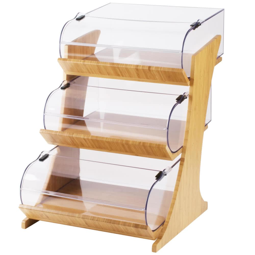 Cal-Mil 3397-3-60 3 Tier Pastry Display Stand w/ Hinged Bins, Bamboo