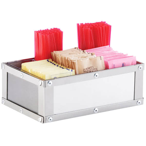 Cal-Mil 3398-55 Condiment Station w/ (6) Compartments - Brushed Stainless Steel
