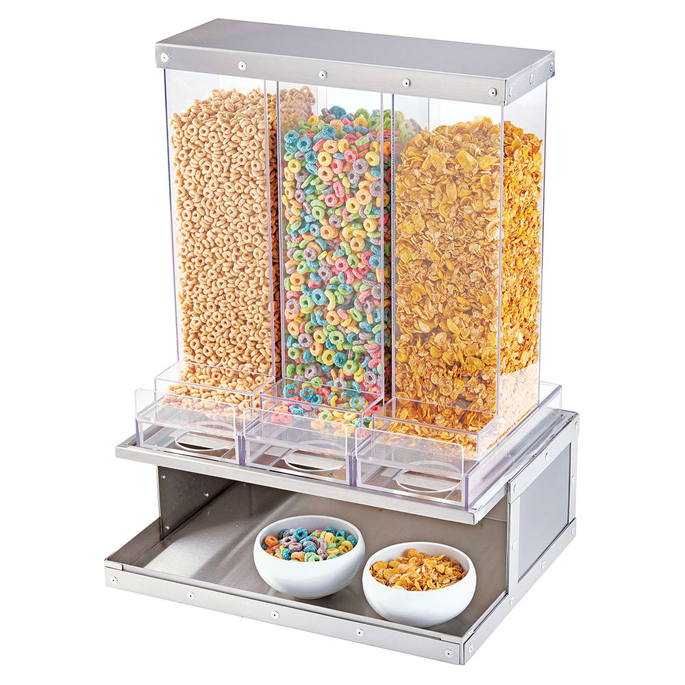 Cal-Mil 3401-55 Countertop Cereal Dispenser w/ (3) Containers, Stainless Steel Stand