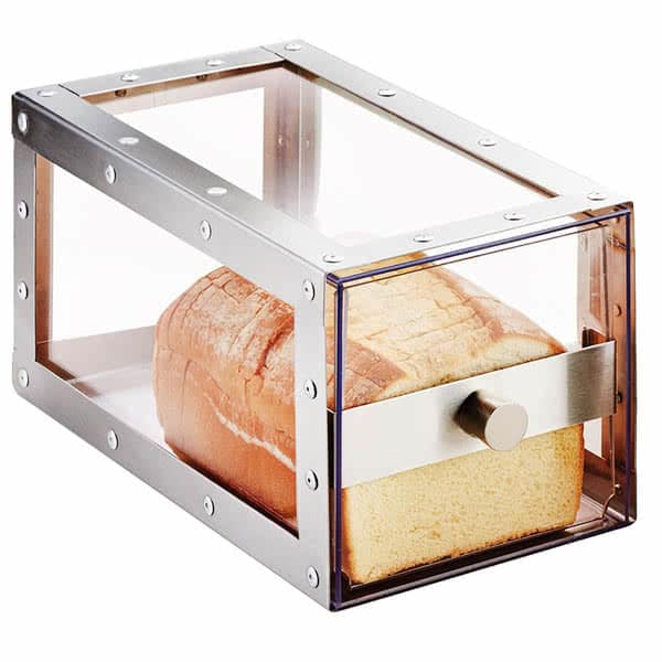 "Cal-Mil 3410-55 Bread Display Drawer - 6.75""W x 12.25""D x 6.75""H, Stainless Steel/Acrylic"