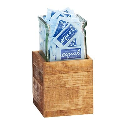 "Cal-Mil 3427-5-99 3-Tier Condiment Jar Riser Set w/ (3) 4"" x 4"" Jars, Reclaimed Wood"