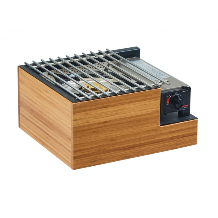 """Cal-Mil 3435-60 Frame w/ Steel Grill Top for Butane Stove - 14.5""""W x 13""""D x 7.5""""H, Bamboo"""
